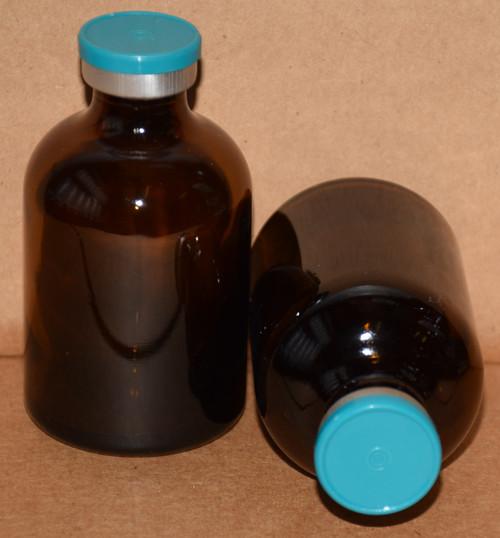 50 mL Amber Sterile Vial w/ Turquoise Aluminum Plain Flip Cap Seal 43mm X 73mm