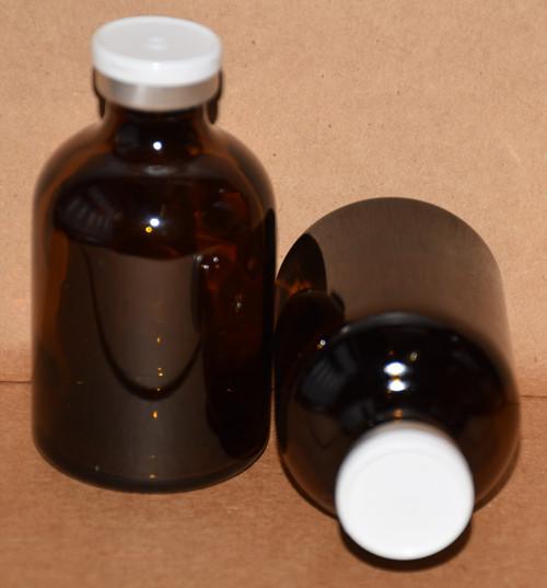 50 mL Amber Sterile Vial w/ White Aluminum Plain Flip Cap Seal 43mm X 73mm