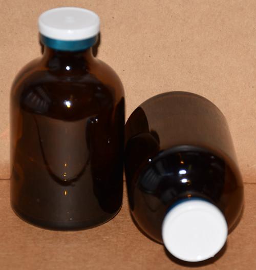 50 mL Amber Sterile Vial w/ White On Blue Aluminum Plain Flip Cap Seal 43mm X 73mm