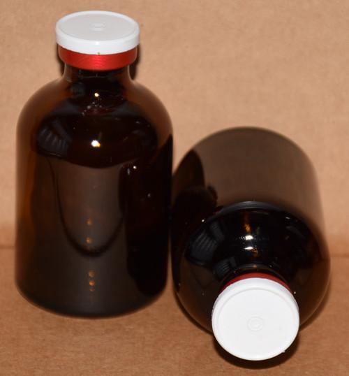 50 mL Amber Sterile Vial w/ White On Red Aluminum Plain Flip Cap Seal 43mm X 73mm