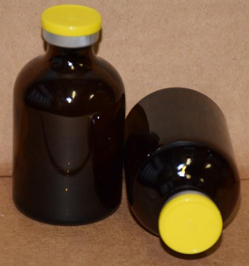 50 mL Amber Sterile Vial w/ Yellow Aluminum Plain Flip Cap Seal 43mm X 73mm