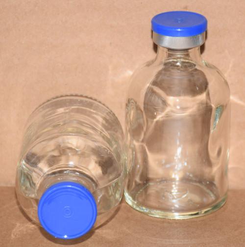 50 mL Clear Sterile Vial w/ Medium Blue Aluminum Plain Flip Cap Seal 43mm X 73mm