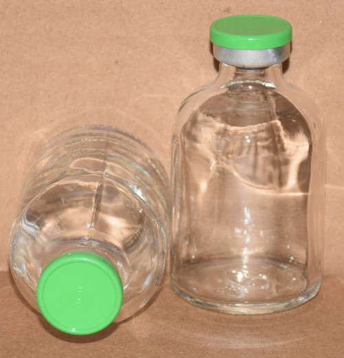 50 mL Clear Sterile Vial w/ Meadow Green Aluminum Plain Flip Cap Seal 43mm X 73mm