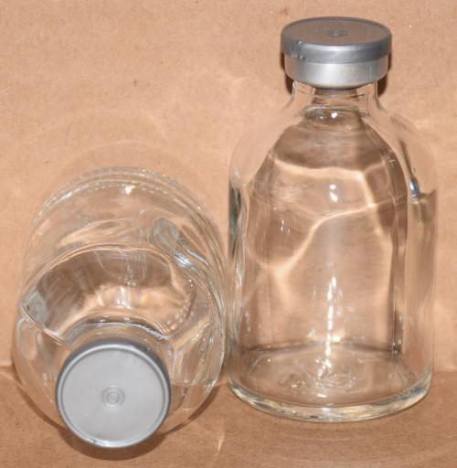50 mL Clear Sterile Vial w/ Metallic Silver Aluminum Plain Flip Cap Seal 43mm X 73mm