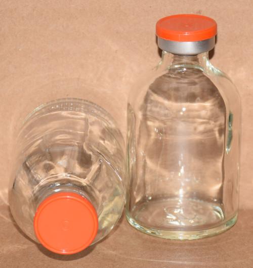 50 mL Clear Sterile Vial w/ Orange Aluminum Plain Flip Cap Seal 43mm X 73mm