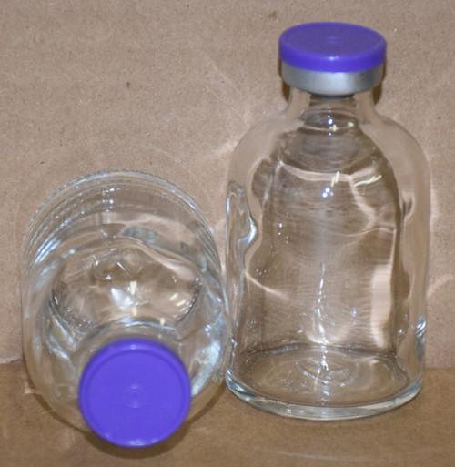 50 mL Clear Sterile Vial w/ Purple Aluminum Plain Flip Cap Seal 43mm X 73mm