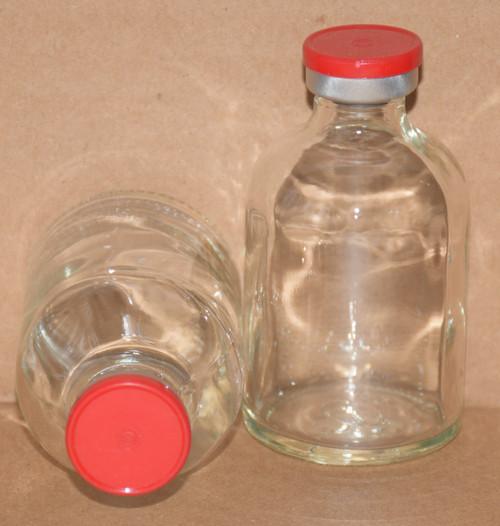 50 mL Clear Sterile Vial w/ Red Aluminum Plain Flip Cap Seal 43mm X 73mm
