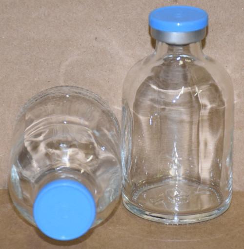 50 mL Clear Sterile Vial w/ Sky Blue Aluminum Plain Flip Cap Seal 43mm X 73mm