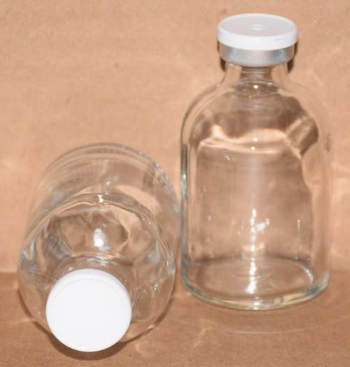 50 mL Clear Sterile Vial w/ White Aluminum Plain Flip Cap Seal 43mm X 73mm