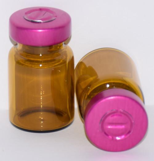 5 mL Amber Sterile Vial w/ Wine Aluminum Center Tear Seal 22mm X 35mm