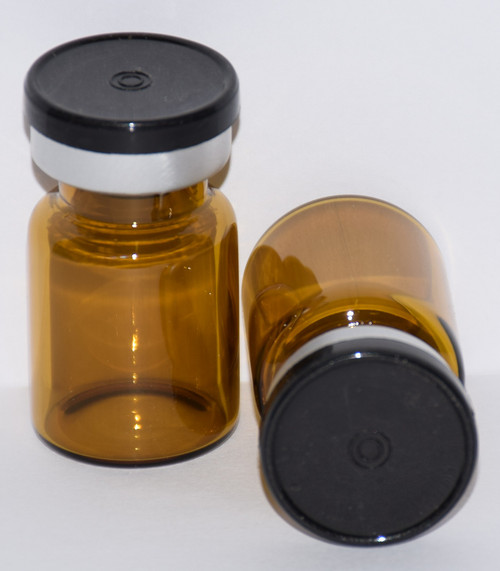 5 mL Amber Sterile Vial w/ Black Aluminum Plain Flip Cap Seal 22mm X 35mm