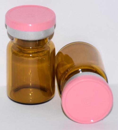 5 mL Amber Sterile Vial w/ Baby Pink Aluminum Plain Flip Cap Seal 22mm X 35mm