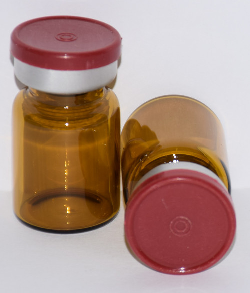 5 mL Amber Sterile Vial w/ Brick Red Aluminum Plain Flip Cap Seal 22mm X 35mm