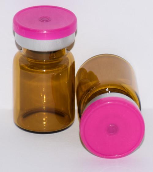 5 mL Amber Sterile Vial w/ Fuchsia Pink Aluminum Plain Flip Cap Seal 22mm X 35mm