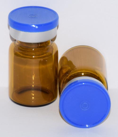 5 mL Amber Sterile Vial w/ Medium Blue Aluminum Plain Flip Off Seal 22mm X 35mm