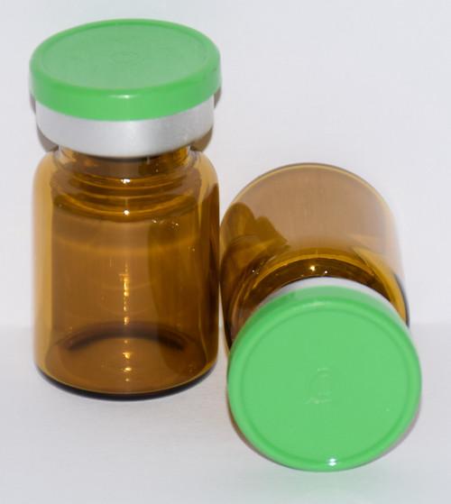 5 mL Amber Sterile Vial w/ Meadow Green Aluminum Plain Flip Off Seal 22mm X 35mm