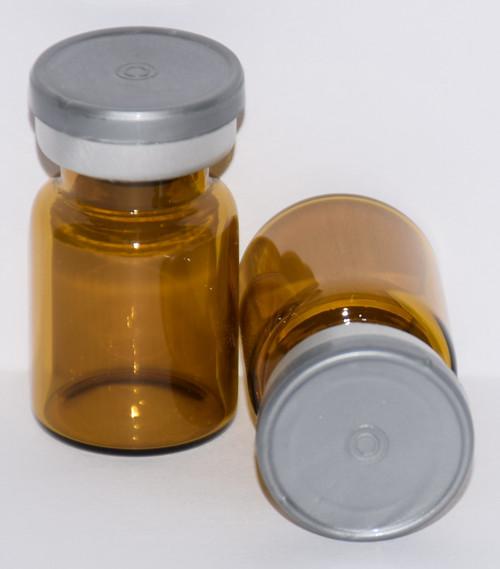5 mL Amber Sterile Vial w/ Metallic Silver Aluminum Plain Flip Off Seal 22mm X 35mm