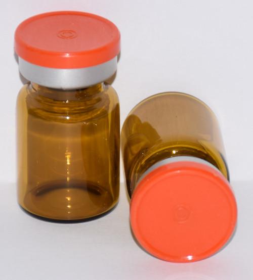 5 mL Amber Sterile Vial w/ Orange Aluminum Plain Flip Off Seal 22mm X 35mm