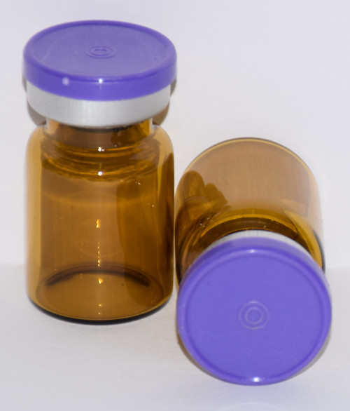 5 mL Amber Sterile Vial w/ Purple Aluminum Plain Flip Off Seal 22mm X 35mm