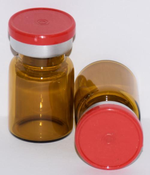 5 mL Amber Sterile Vial w/ Red Aluminum Plain Flip Off Seal 22mm X 35mm