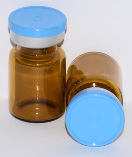 5 mL Amber Sterile Vial w/ Sky Blue Aluminum Plain Flip Off Seal 22mm X 35mm