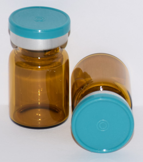 5 mL Amber Sterile Vial w/ Turquoise Aluminum Plain Flip Off Seal 22mm X 35mm