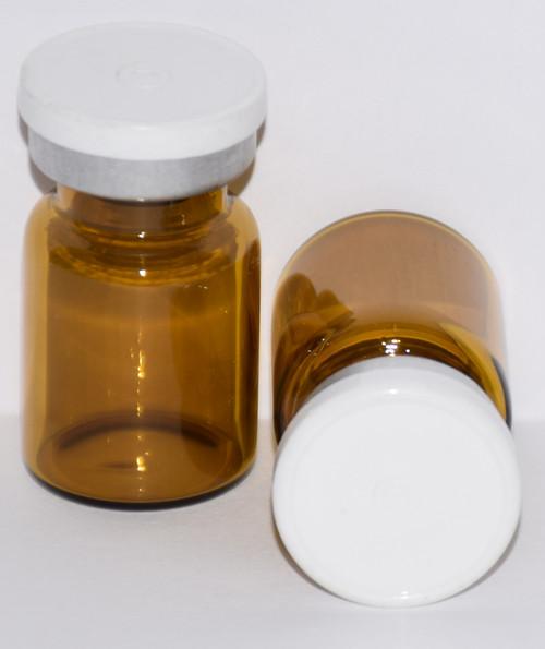 5 mL Amber Sterile Vial w/ White Aluminum Plain Flip Off Seal 22mm X 35mm