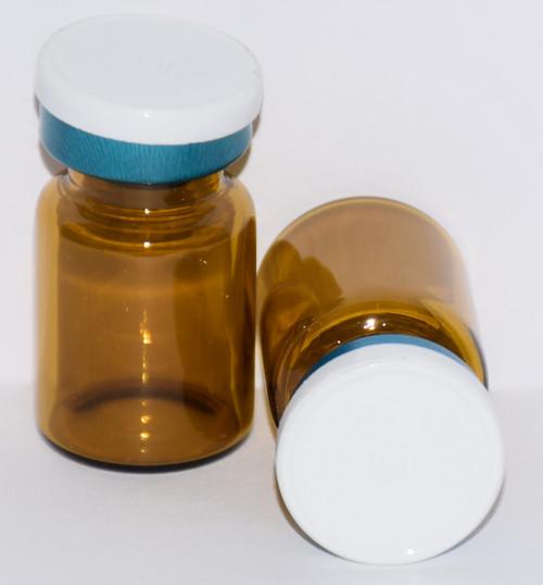 5 mL Amber Sterile Vial w/ White On Blue Aluminum Plain Flip Off Seal 22mm X 35mm
