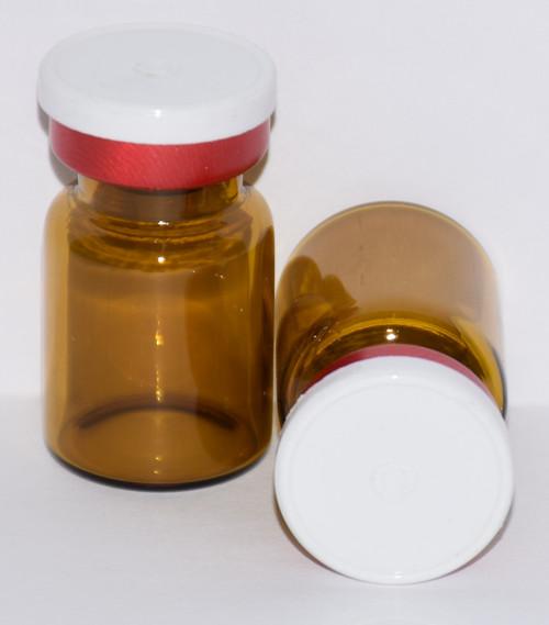 5 mL Amber Sterile Vial w/ White On Red Aluminum Plain Flip Off Seal 22mm X 35mm