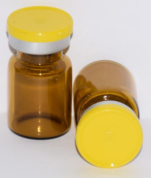 5 mL Amber Sterile Vial w/ Yellow Aluminum Plain Flip Off Seal 22mm X 35mm