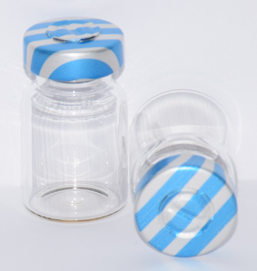 5 mL Clear Sterile Vial w/ Blue Stripe Aluminum Center Tear Seal 22mm X 35mm