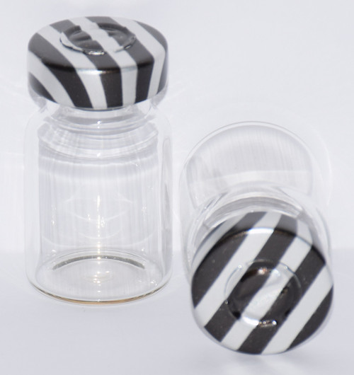 5 mL Clear Sterile Vial w/ Black Stripe Aluminum Center Tear Seal 22mm X 35mm