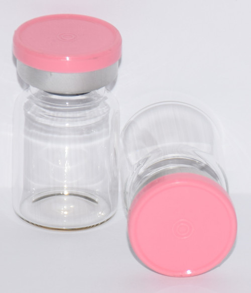 5 mL Clear Sterile Vial w/ Baby Pink Aluminum Plain Flip Cap Seal 22mm X 35mm