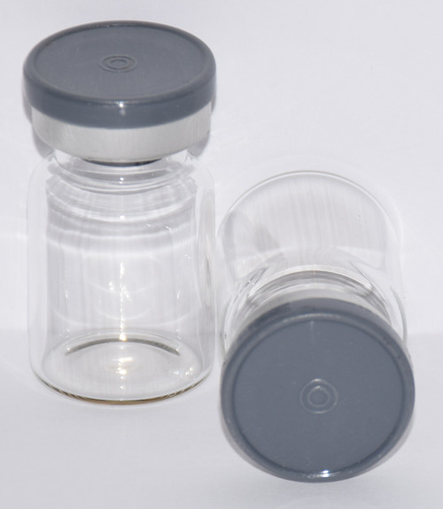 5 mL Clear Sterile Vial w/ Dark Gray Aluminum Plain Flip Cap Seal 22mm X 35mm