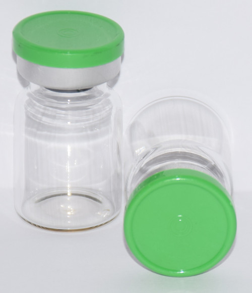5 mL Clear Sterile Vial w/ Meadow Green Aluminum Plain Flip Cap Seal 22mm X 35mm
