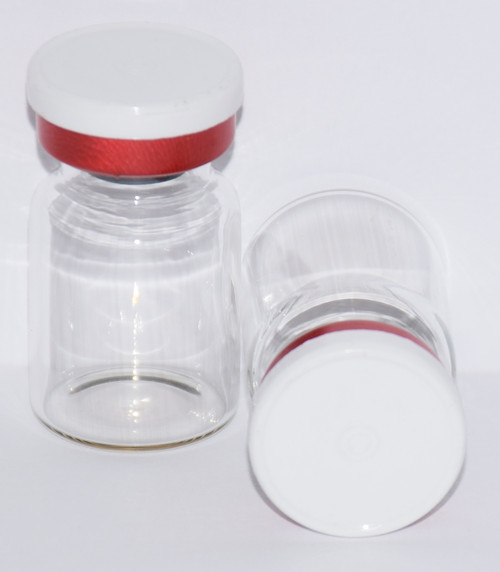 5 mL Clear Sterile Vial w/ White On Red Aluminum Plain Flip Cap Seal 22mm X 35mm