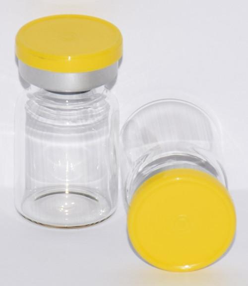 5 mL Clear Sterile Vial w/ Yellow Aluminum Plain Flip Cap Seal 22mm X 35mm