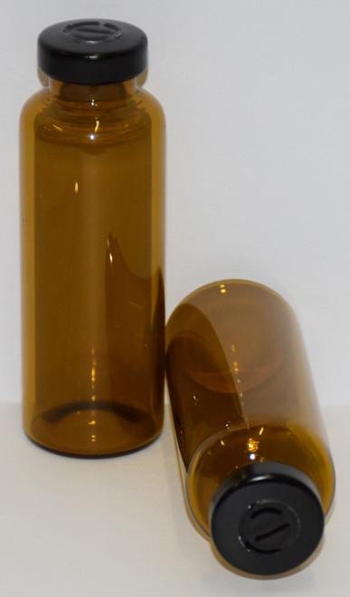 30 mL Amber Sterile Vial w/ Black Aluminum Center Tear Seal 31mm X 67mm