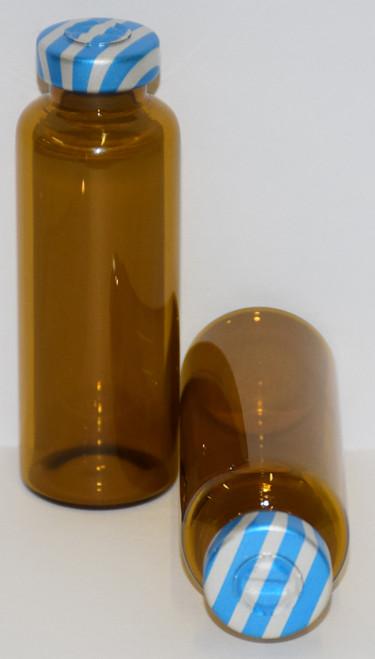 30 mL Amber Sterile Vial w/ Blue Stripe Aluminum Center Tear Seal 31mm X 67mm