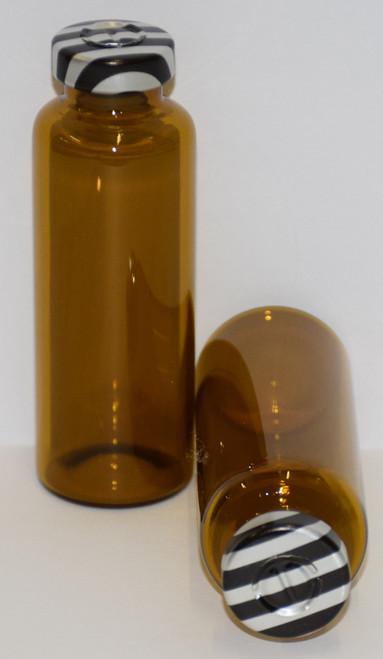 30 mL Amber Sterile Vial w/ Black Stripe Aluminum Center Tear Seal 31mm X 67mm