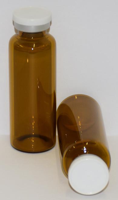 30 mL Amber Sterile Vial w/ White Aluminum Plain Flip Cap Seal 31mm X 67mm