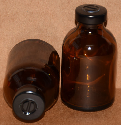 30 mL Amber Sterile Vial w/ Black Aluminum Center Tear Seal 36mm X 63mm