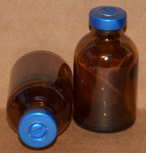 30 mL Amber Sterile Vial w/ Blue Aluminum Center Tear Seal 36mm X 63mm