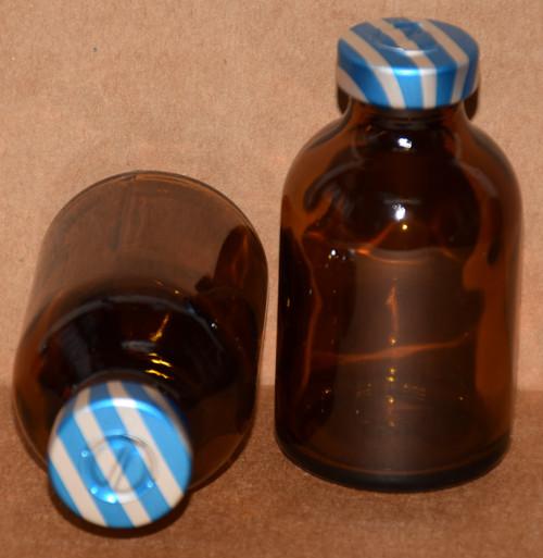 30 mL Amber Sterile Vial w/ Blue Stripe Aluminum Center Tear Seal 36mm X 63mm