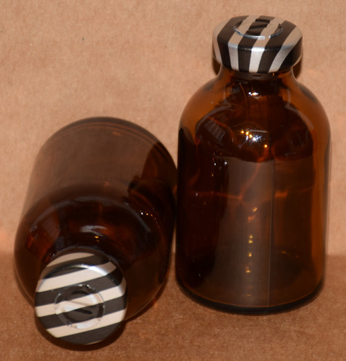 30 mL Amber Sterile Vial w/ Black Stripe Aluminum Center Tear Seal 36mm X 63mm
