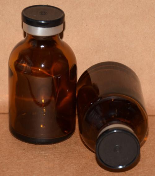 30 mL Amber Sterile Vial w/ Black Aluminum Plain Flip Off Seal 36mm X 63mm