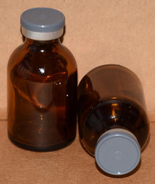 30 mL Amber Sterile Vial w/ Dark Gray Aluminum Plain Flip Off Seal 36mm X 63mm