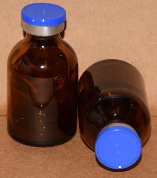 30 mL Amber Sterile Vial w/ Medium Blue Aluminum Plain Flip Off Seal 36mm X 63mm