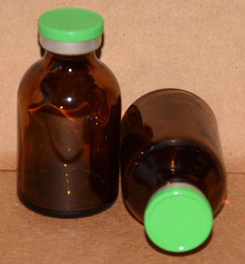 30 mL Amber Sterile Vial w/ Meadow Green Aluminum Plain Flip Off Seal 36mm X 63mm