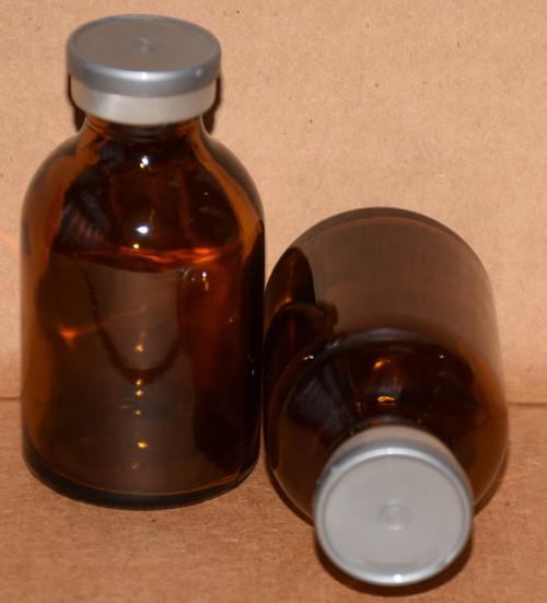 30 mL Amber Sterile Vial w/ Metallic Silver Aluminum Plain Flip Off Seal 36mm X 63mm